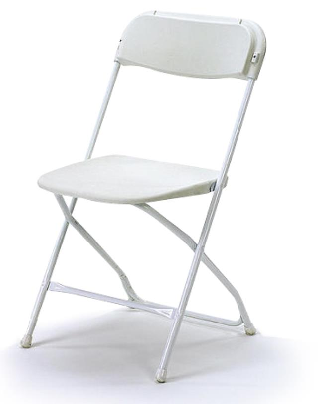 Where to find Folding  White Plastic Chair in St. Louis